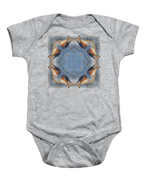 Winter Bluebird Kaleidoscope Baby Onesie