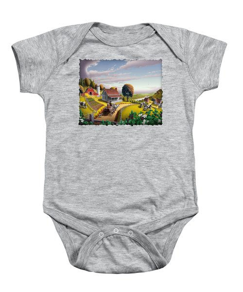 Appalachian Blackberry Patch Rustic Country Farm Folk Art Landscape - Rural Americana - Peaceful Baby Onesie