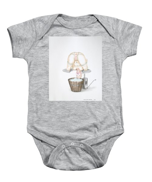 Baby Onesie featuring the mixed media  Behavior Control by TortureLord Art