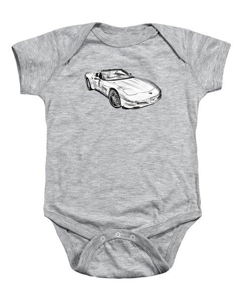 C5 Corvette Convertible Muscle Car Illustration Baby Onesie
