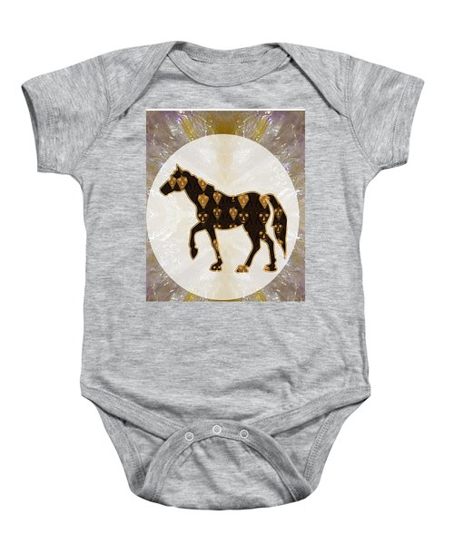 Horse Prancing Abstract Graphic Filled Cartoon Humor Faces Download Option For Personal Commercial  Baby Onesie by Navin Joshi