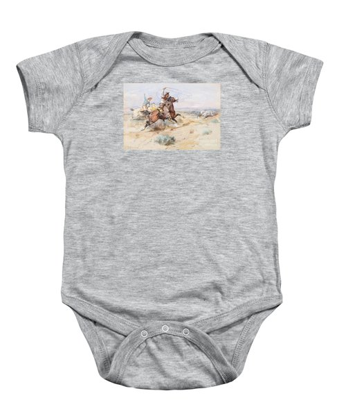 Roping A White Wolf  Baby Onesie