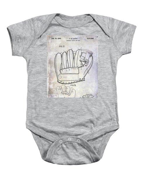 1943 Baseball Glove Patent Baby Onesie by Jon Neidert