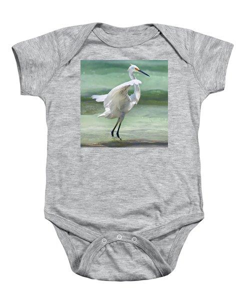 A Snowy Egret (egretta Thula) At Mahoe Baby Onesie by John Edwards