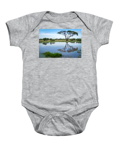 Acacia Tree Reflection Baby Onesie