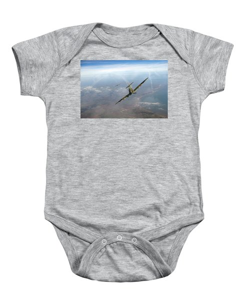 Baby Onesie featuring the photograph Battle Of Britain Spitfires Over Kent by Gary Eason