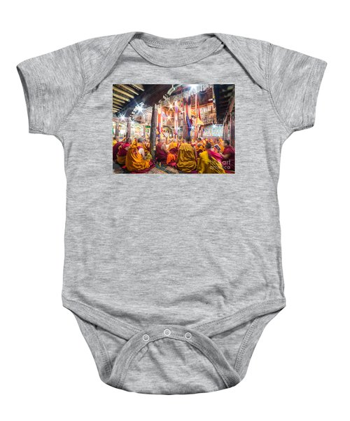 Buddhist Monks Praying In Thiksay Monastery Baby Onesie