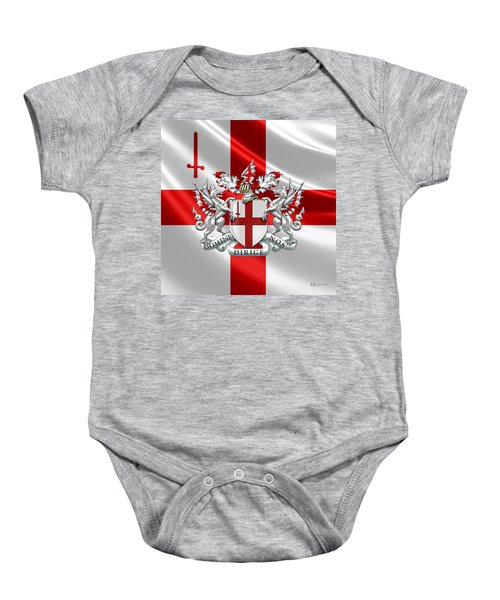City Of London - Coat Of Arms Over Flag  Baby Onesie
