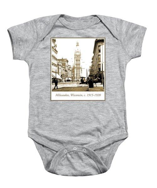 Downtown Milwaukee, C. 1915-1920, Vintage Photograph Baby Onesie