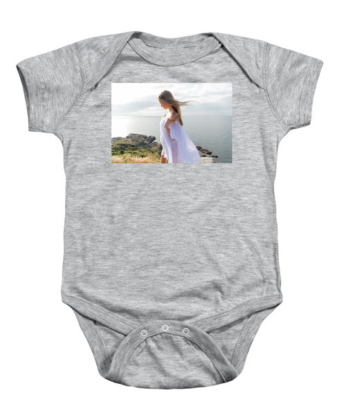 Girl In A White Dress By The Sea Baby Onesie