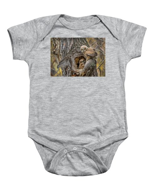 Great Horned Owlets In A Nest Baby Onesie