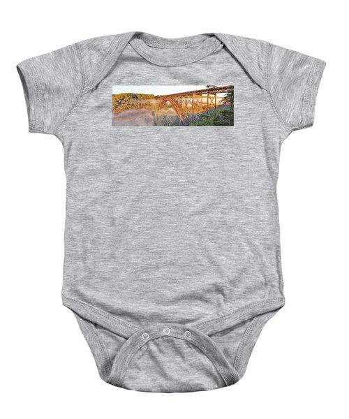 New River Gorge Bridge Morning Fall Panorama Baby Onesie