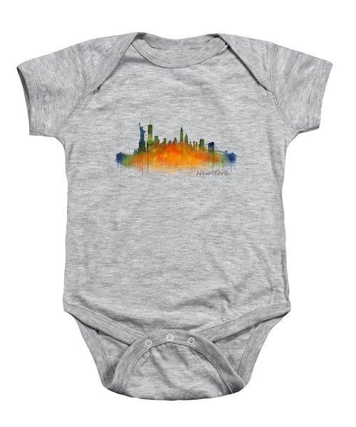 New York City Skyline Hq V02 Baby Onesie