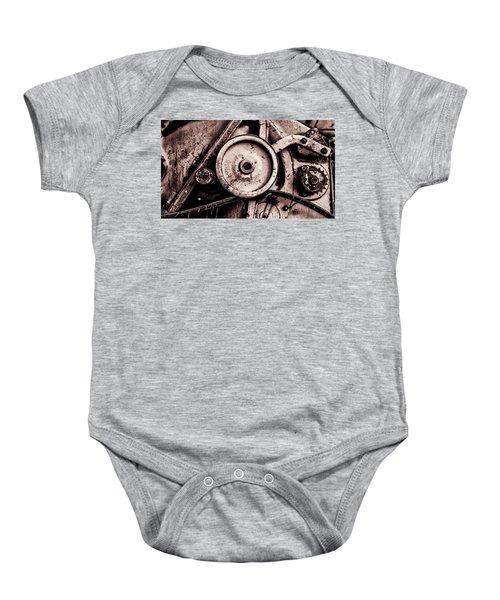 Soviet Ussr Combine Harvester Abstract Cogs In Monochrome Baby Onesie