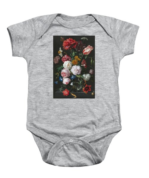 Still Life With Flowers In A Glass Vase Baby Onesie