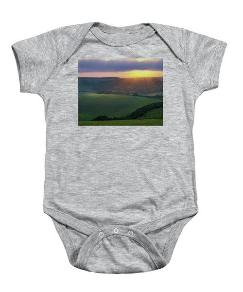 Sunset Over The South Downs Baby Onesie