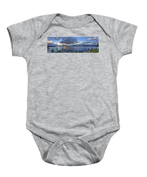 Tahoe Sunset Panorama Baby Onesie