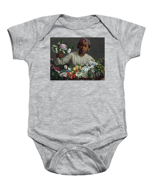 Young Woman With Peonies Baby Onesie