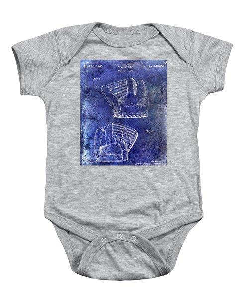 1945 Baseball Glove Patent Blue Baby Onesie by Jon Neidert