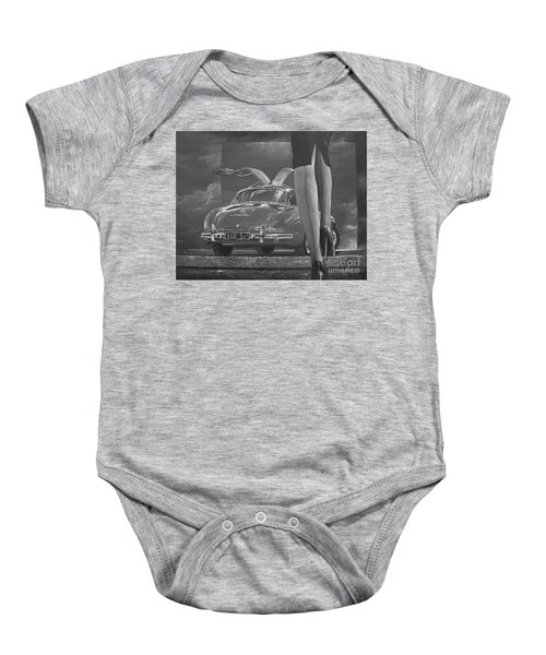 1957 Mercedes Benz 300 Sl Gullwing Coupe In Black And White Baby Onesie