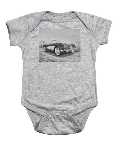 1959 Chevrolet Corvette Cabriolet In Black And White Baby Onesie