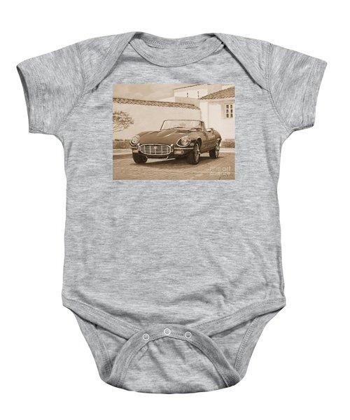 1961 Jaguar Xke Cabriolet In Sepia Baby Onesie