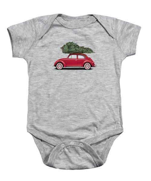 1962 Volkswagen Deluxe Sedan - Ruby Red W/ Christmas Tree Baby Onesie by Ed Jackson