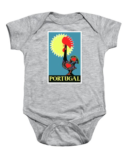 1965 Portugal Rooster Of Barcelos Travel Poster Baby Onesie