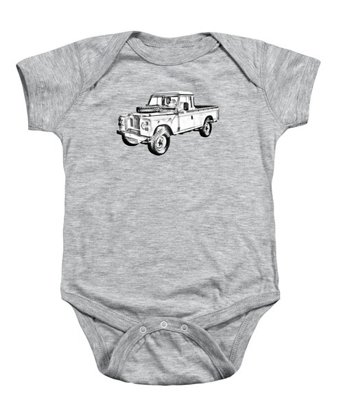 1971 Land Rover Pick Up Truck Drawing Baby Onesie
