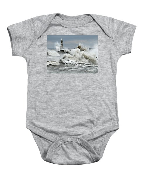 Baby Onesie featuring the pyrography The Angry Sea by Morag Bates
