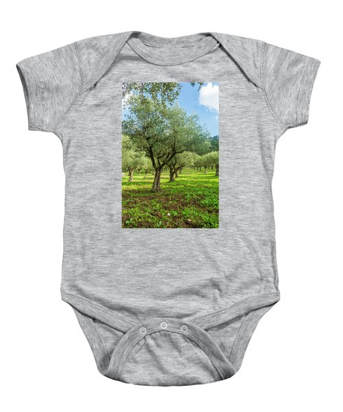 Young Olive Grove Baby Onesie