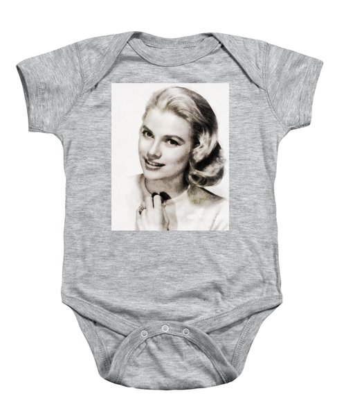 Grace Kelly, Vintage Hollywood Actress Baby Onesie by John Springfield