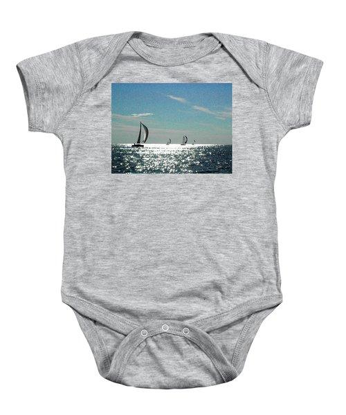 4 Boats On The Horizon Baby Onesie