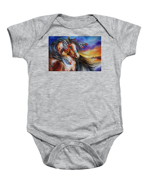 5 Feathers Indian War Horse Baby Onesie