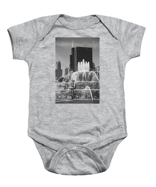 Baby Onesie featuring the photograph Chicago Skyline And Buckingham Fountain by Frank Romeo
