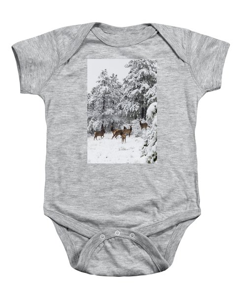 Elk In Deep Snow In The Pike National Forest Baby Onesie