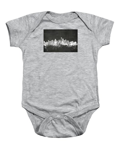Seattle Washington Skyline Baby Onesie by Michael Tompsett