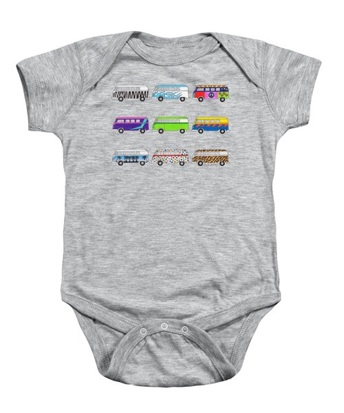 9 Wild Buses Baby Onesie by Rita Palmer