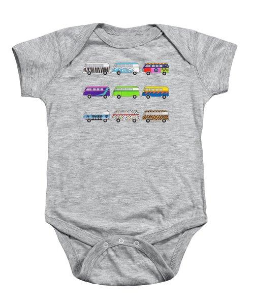 9 Wild Buses Baby Onesie