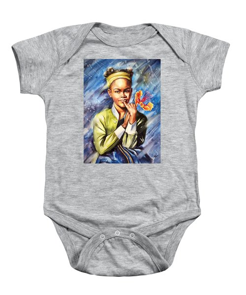 A Girl With Yellow Poinciana Baby Onesie