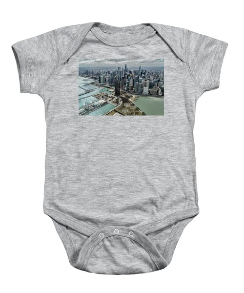 A Helicopter View Of Chicago's Lakefront Baby Onesie