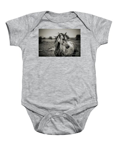 A Horse In Profile In Black And White Baby Onesie