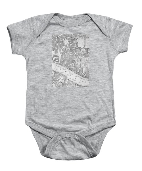 A Map Of The Tower Of London Baby Onesie by John Rocque