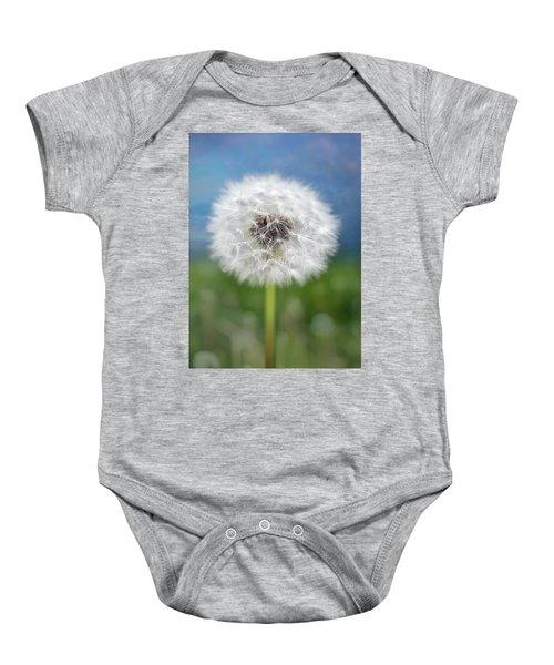A Single Dandelion Seed Pod Baby Onesie
