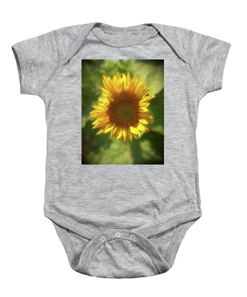 A Single Sunflower Showing It's Beautiful Yellow Color Baby Onesie