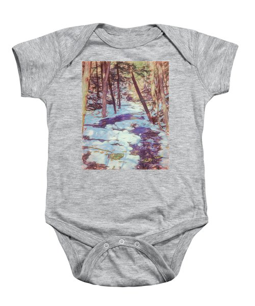 A Small Stream Meandering Through Winter Landscape. Baby Onesie