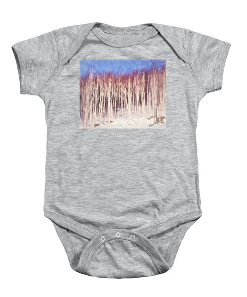 A Stand Of White Birch Trees In Winter. Baby Onesie