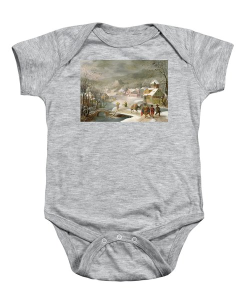 A Winter Landscape With Travellers On A Path Baby Onesie by Denys van Alsloot
