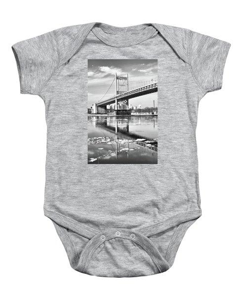 A Winter Portrait Of The Triboro Bridge Baby Onesie