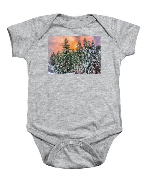A Winters Sky Set Ablaze Baby Onesie